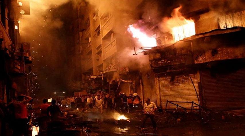 حريق هائل في سوق بالقاهرة